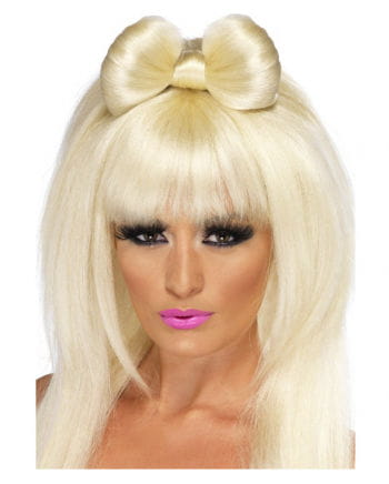 Popstar Perücke Blond mit Schleife