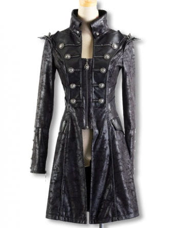 Punk coat in snake leather optic