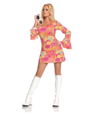 Hippie Mini Kleid Geblümt Large