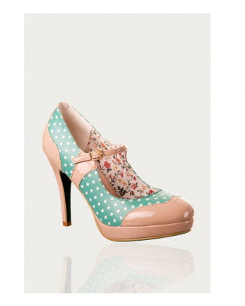Pumps with a points mint / beige