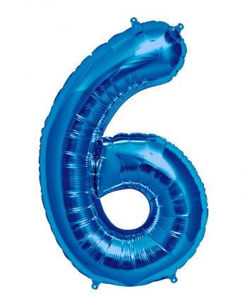 Foil balloon number 6 blue
