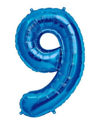Foil balloon number 9 Blue