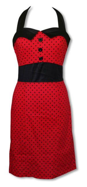 Rockabilly Kleid mit Bleistiftrock rot-schwarz