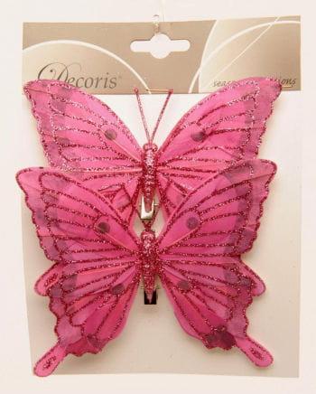 Glitter Butterflies Set of 2 14 cm pink