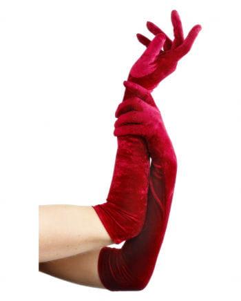 Rote, ellbogenlange Samthandschuhe