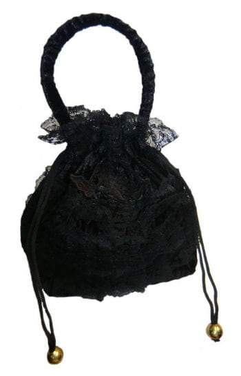 Velvet Pouch Black with Lace