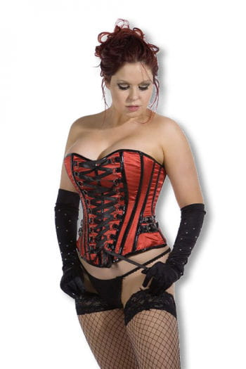 Satin Corset with Buckles red