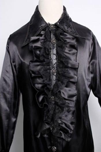 Satin shirt with ruffles black L