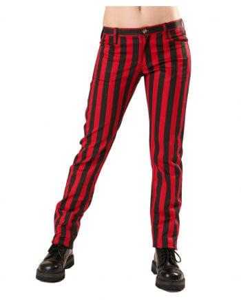 Punk Jeans rot-schwarz gestreift