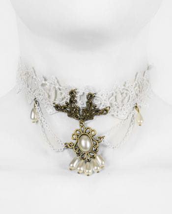 Victorian necklace with lace and jewelry stone white