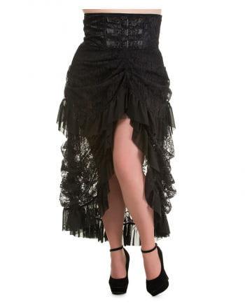Taffeta skirt with lace black