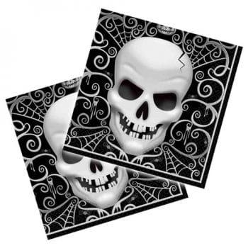 Halloween Servietten mit Totenkopf