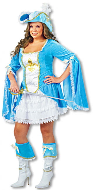 Sexy Musketeer Costume Turquoise Plus Size