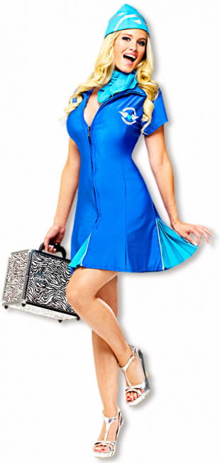 Sexy Stewardess Costume Blue
