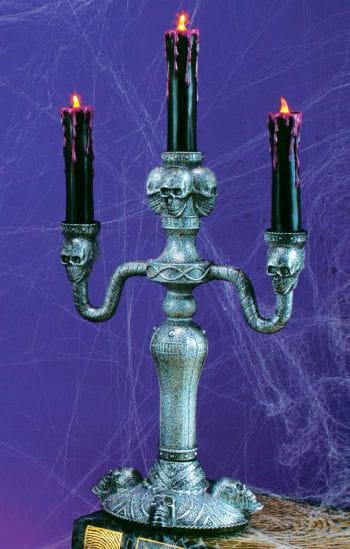 Gothic Kerzenständer mit LED Kerzen silber