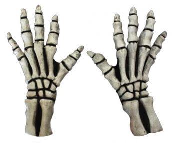 Skeleton Gloves Short White