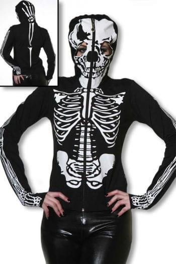 Skelett Hoodie mit Totenkopfmaske M M / 38