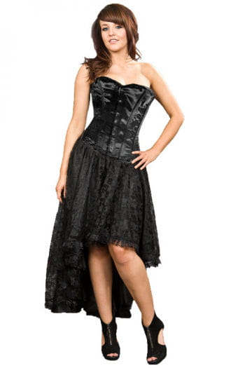 Lace dress with corset lacing black