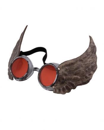 Steampunk Fliegerbrille mit Flügel Silber