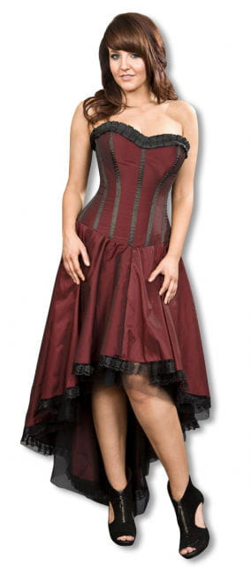 Burgundy Gothic Taffeta Dress M