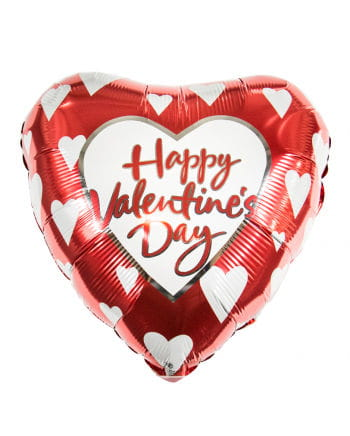 Happy Valentines Day Foil balloon with white hearts