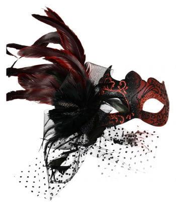 Venezianische Augenmaske mit Federn Rot