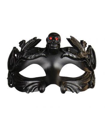 Augenmaske mit Totenkopf & Strasssteinen schwarz