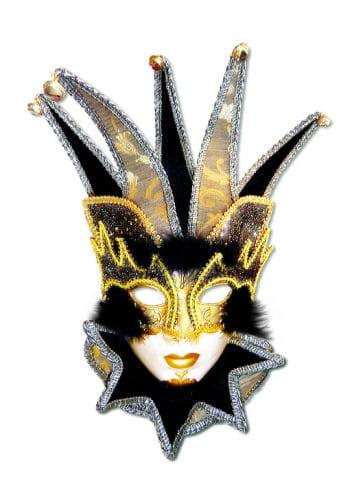 Venezianische Hofnarr Maske schwarz