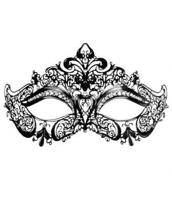 Eye mask made of metal with rhinestones black