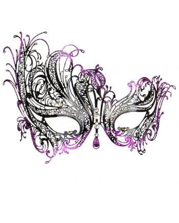 Ornate Eye Mask with rhinestone violet / black