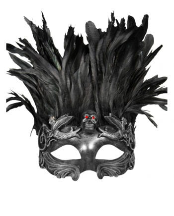 Venetian skull mask with feathers silver / black