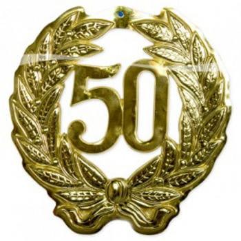 Wanddeko Jubiläum 50 gold