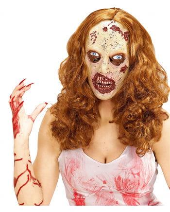 Weiblicher Zombie Maske mit Haaren