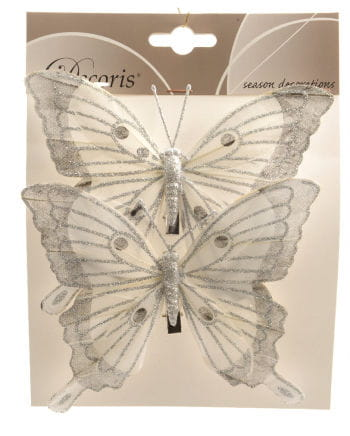 Glitter Butterflies Set of 2 14 cm white