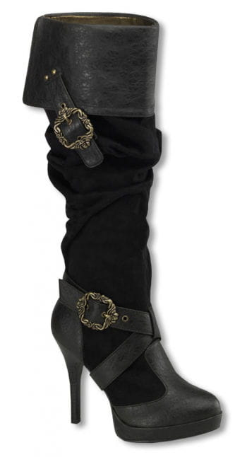 Suede boots with buckles
