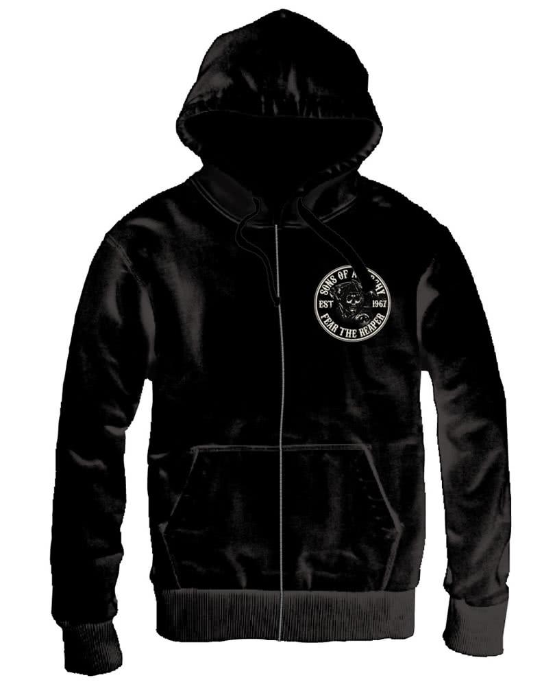 sons of anarchy reaper hoodie for fans of biker tv series. Black Bedroom Furniture Sets. Home Design Ideas
