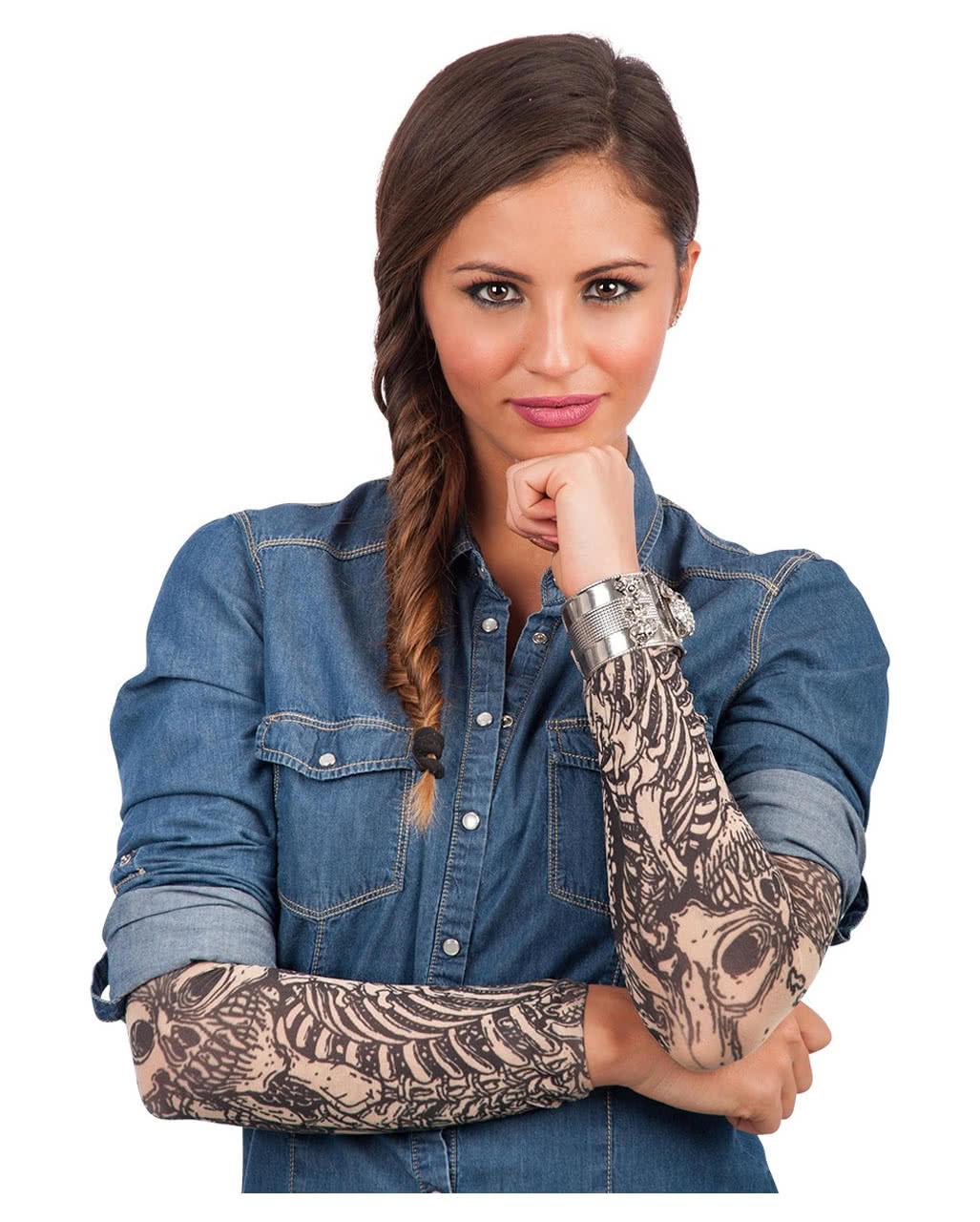 tattoo rmel mit skelettmotiv 2 st kost mzubeh r horror. Black Bedroom Furniture Sets. Home Design Ideas