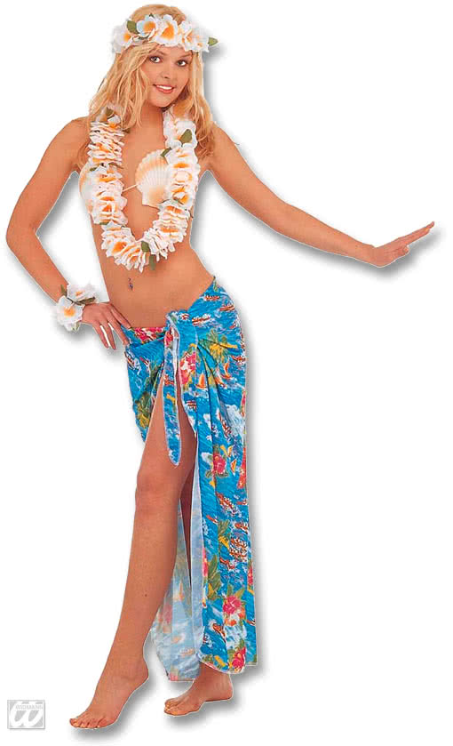 Hawaii Blue Wrap Skirt Bastrock Costume Hawaii Carnival Costume