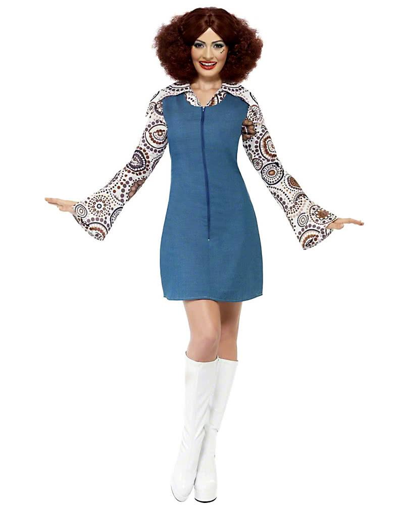 70s Disco Queen Costume   Hippie Mini dress in jeans look   horror ...