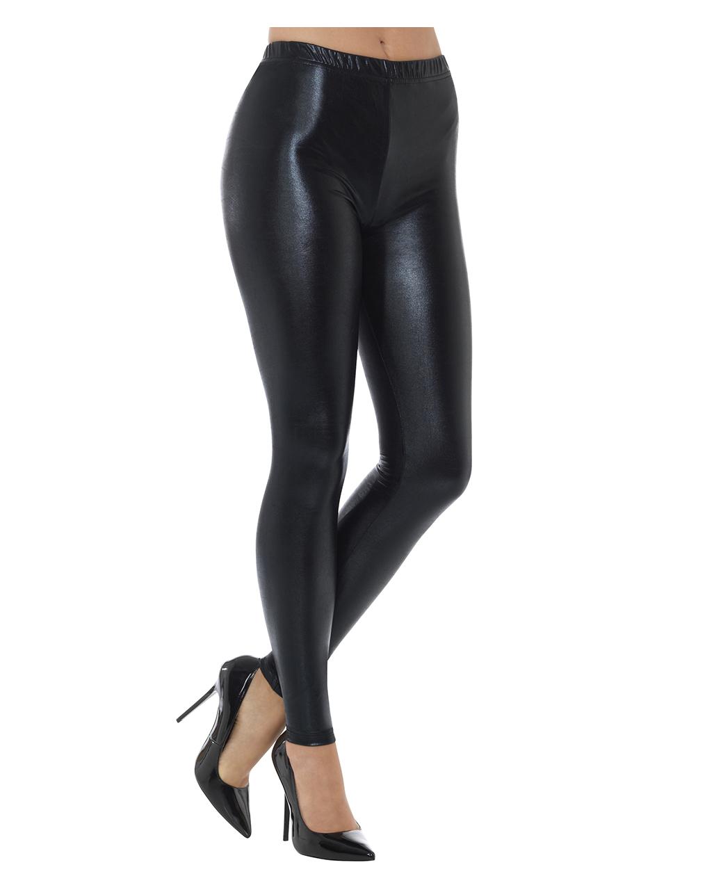 bfc4aac56bd0f 80s Metallic Leggings Black   Costume Accessories   horror-shop.com