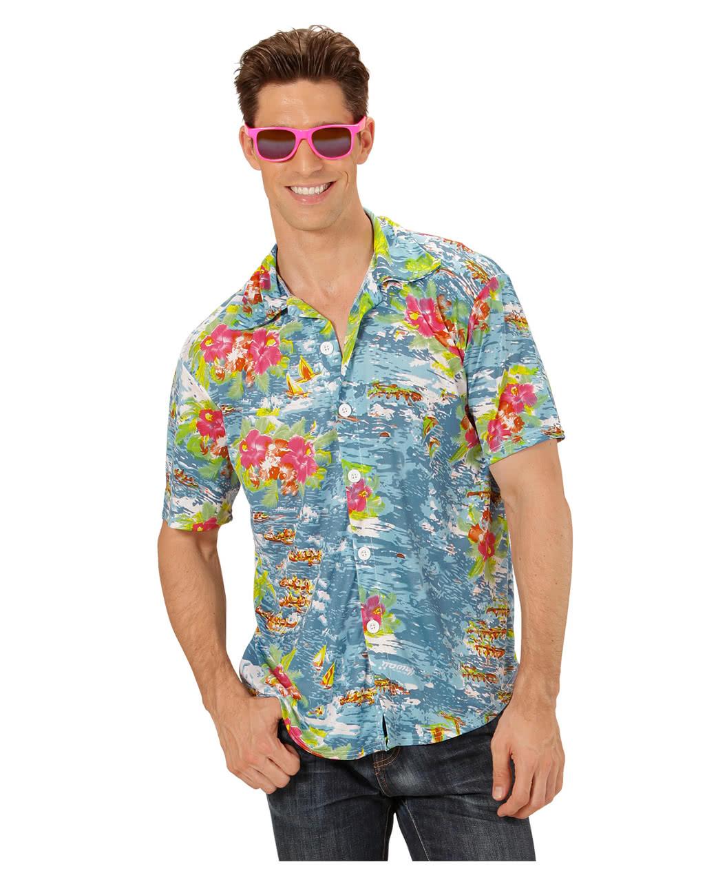 6fb1469f7 Hawaiian Shirt Blue XL Hawaiian Shirt Aloha Shirt Flower Shirt Floral Print  Shirthmtes Hemd   horror-shop.com