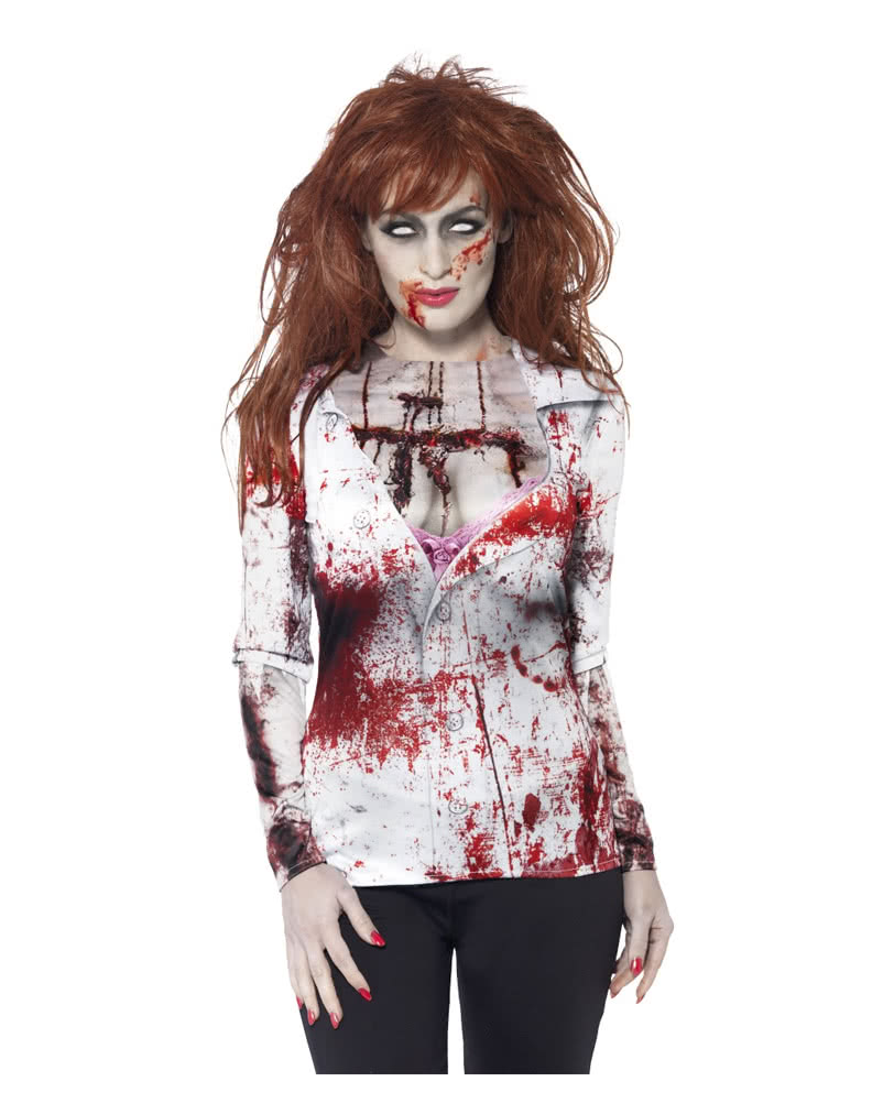 039059abc Bloody Zombie Girl Long Shirt | Zombie disguise for Ladies | horror-shop.com