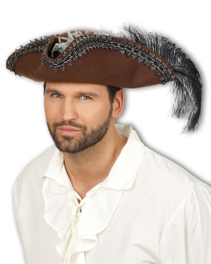 a617ca874e0 Pirate tricorn hat with feather   Trims a pirate hat for carnival ...