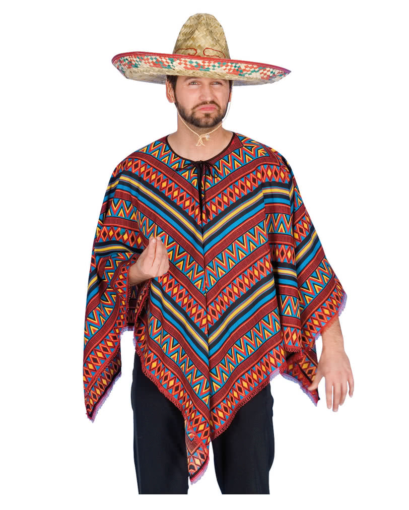 Colorful Mexican Poncho for the Wild West Party | horror-shop.com