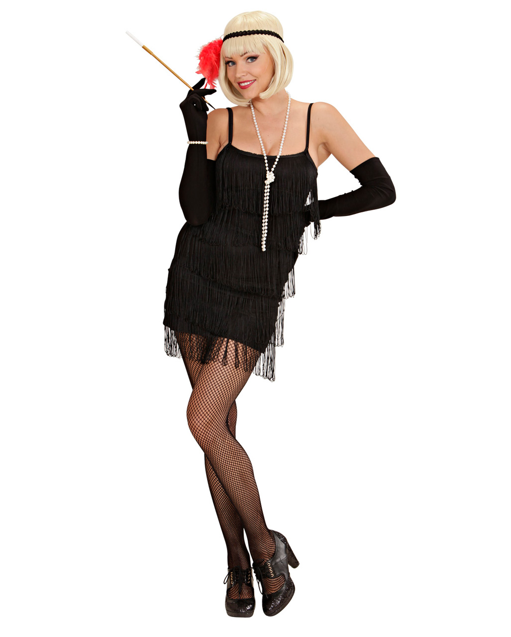 Charleston Kleid schwarz XL | 20er Jahre Kostüm als Fransenkleid ...