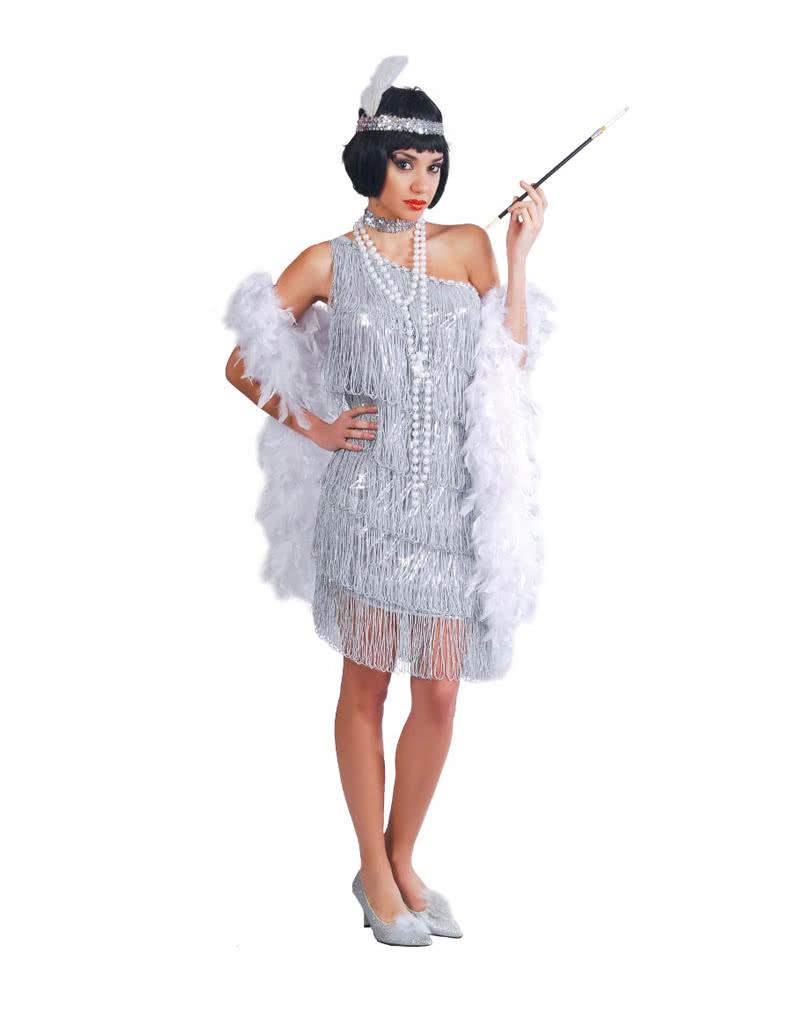 Charleston Kleid Silber | Heißes 20er Jahre Kleid | Horror-Shop.com