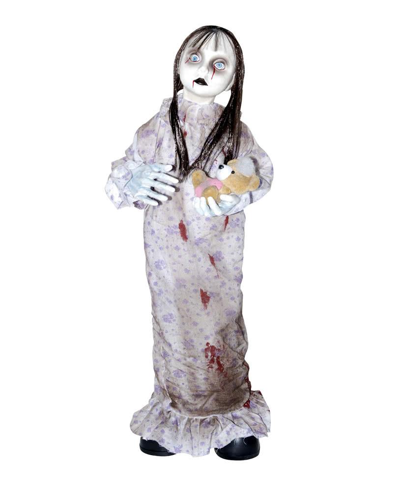 Creepy Girl With Teddy Bear Scary Halloween Animatronic Horror