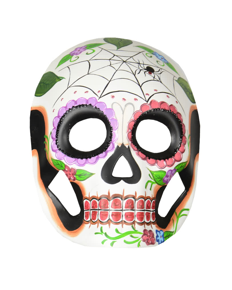 Day of the Dead mask with flowers & cobweb for your Halloween outfit ...