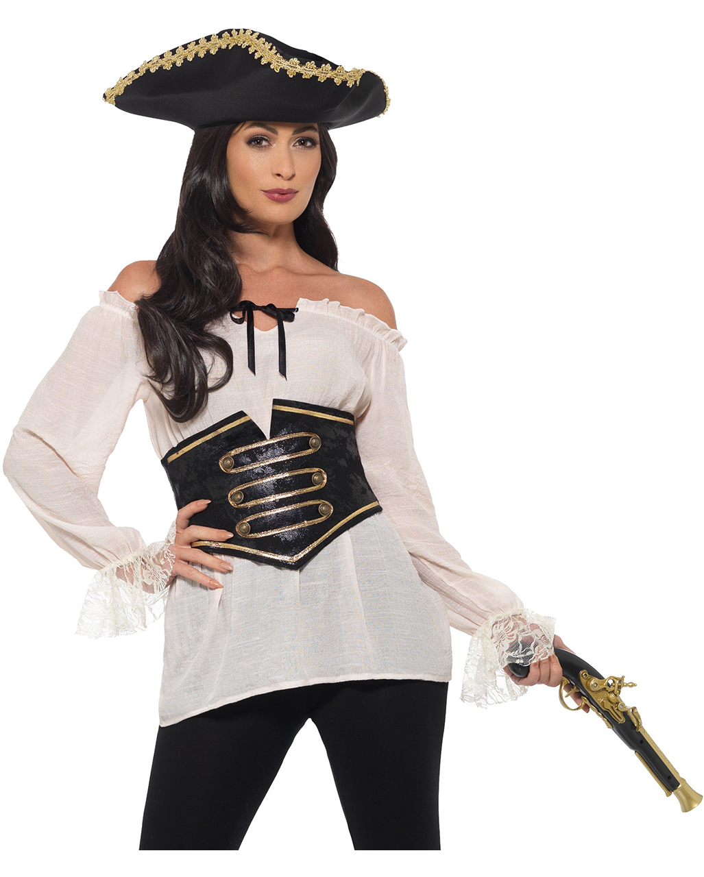 Deluxe Pirate Blouse With Corset Buy Here Horror Shop Com
