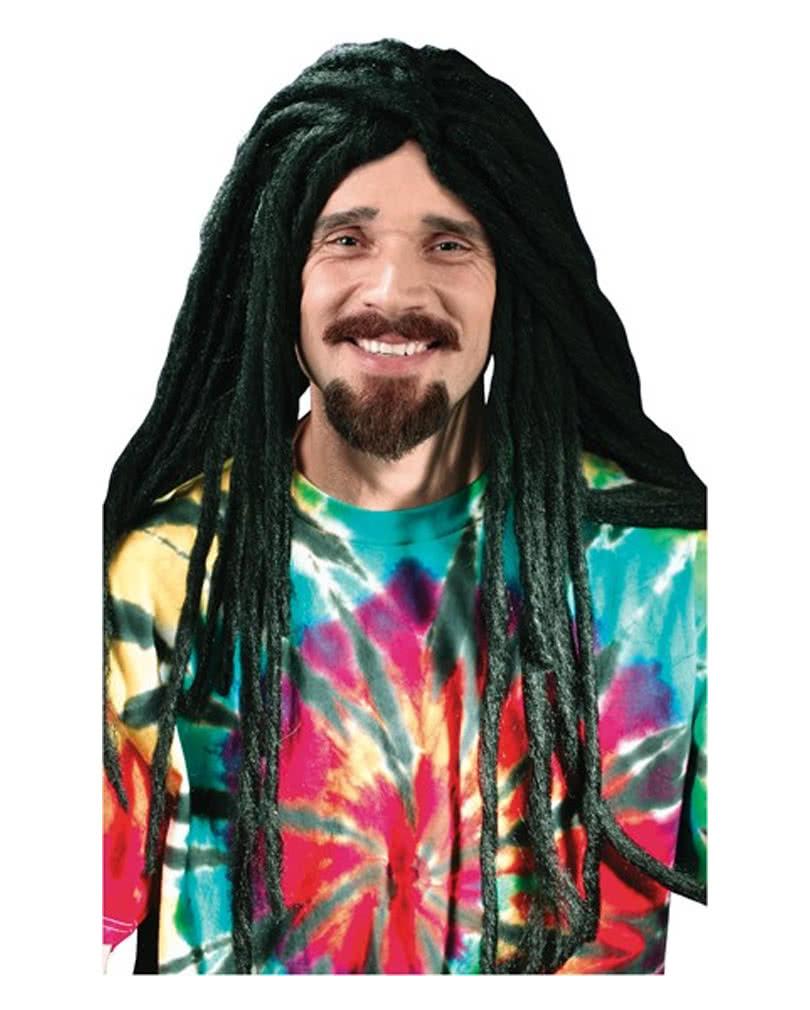 Schwarze Perucke Hippie Mann Rasta Reggae 70er Jahre Hippieperucke